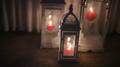 White iron lanterns with candel Stock Footage