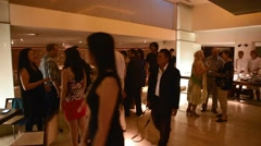 diverse group socialize at classy wine social - stock footage