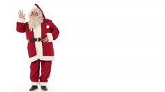 Santa Claus is greeting isolated on white - stock footage
