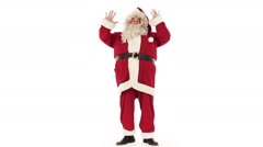 Santa Claus is greeting isolated on white Stock Footage