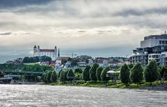 Bratislava is the capital city of Slovak republic. Embankment of Danube river - stock photo
