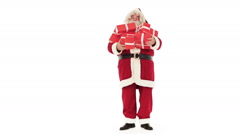Santa Claus portrait with gift isolated on white - stock footage