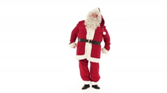 Santa Claus is dancing isolated on white Stock Footage