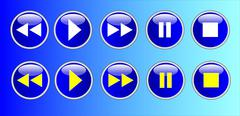 Set of buttons of the virtual audio player - stock illustration