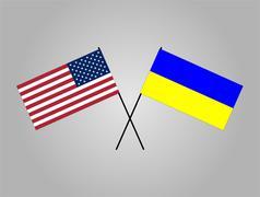 US and Ukraine Flag Stock Illustration