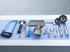 Pathology equipment ready for a autopsy in a laboratory Stock Photos