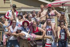 Portrait of adult friends celebrating Independence Day, USA - stock photo