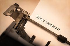 Vintage typewriter close-up - Happy saturday Stock Photos