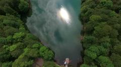 Sun reflection on water surface. Bjelasica mountain, Kolasin, Montenegro Stock Footage