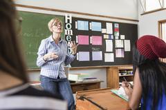 Female teacher addressing students in classroom Stock Photos