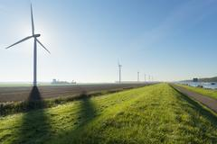 Windfarm, Rilland, Zeeland, Netherlands - stock photo