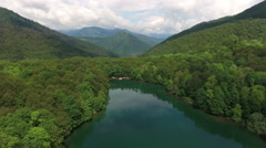 Flying over Biograd lake towards to wooden pier. Kolasin, Montenegro Stock Footage
