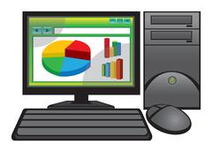 Business Charts in a web browser on Computer Screen Vector Illustration Stock Illustration