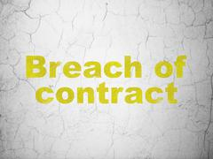 Law concept: Breach Of Contract on wall background - stock illustration