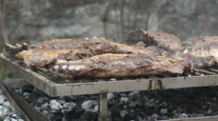 Broiling grilled chops - stock footage
