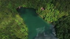 High altitude view at the glacial Biograd lake in Bjelasica mountains, Kolasin, - stock footage