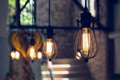 Light lamp electricity hanging decorate home interior Stock Photos