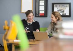 Female printer and designer using laptop in workshop office - stock photo