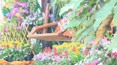 Wood swing in the flowers garden on summer, HD vdo. Stock Footage