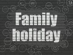 Tourism concept: Family Holiday on wall background - stock illustration