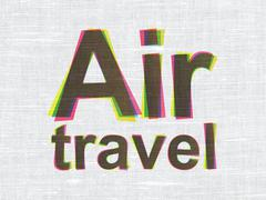 Vacation concept: Air Travel on fabric texture background - stock illustration