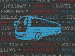 Travel concept: Bus on wall background - stock illustration