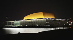 Bahrain National Theatre at night. Stock Footage