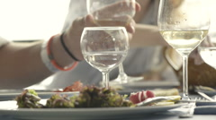 A glass of white wine at italian restaurant Stock Footage