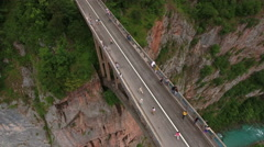 Camera flying over Durdevica bridge. Montenegro Stock Footage