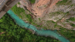The Durdevica bridge across Tara river flowing in canyon Stock Footage