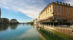 View to historic Zurich city center and Zurich lake, Switzerland Stock Footage