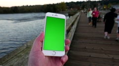 Woman holding green screen display mobile smart phone at Rocky point park Stock Footage