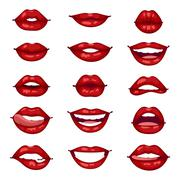 Female lips isolated vector illustration - stock illustration