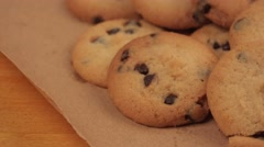 Tasty homemade american chocolate chip cookies, dolly slider in 4k Stock Footage