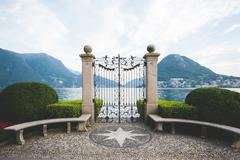 Formal garden gateway,  Lake Lugano, Switzerland - stock photo