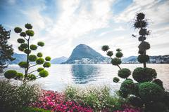 Formal garden and flower beds,  Lake Lugano, Switzerland Stock Photos