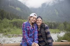 Hikers posing against forest in background, Lake Blanco, Washington, USA Stock Photos