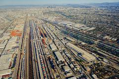 Shipping containers, aerial view Stock Photos