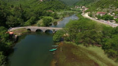 Aerial view at the river Crnojevica. Montenegro Stock Footage
