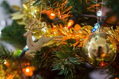Christmas tree decoration in home, closeup reindeer ornament of christmas Stock Photos