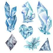 Watercolor Blue Crystals Set Stock Illustration