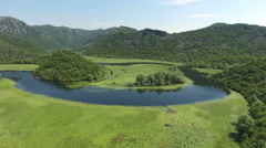 Rjieka Crnojevica. Part of Skadar lake and national park in Montenegro Stock Footage