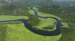 Watercourse bend of river Rjieka Crnojevica. Montenegro Stock Footage