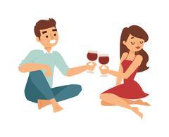 Date flirting boy and girl vector illustration Stock Illustration