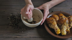Marinated Chicken With Spices - stock footage