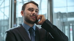 Exciting Business Phone Conversation - stock footage
