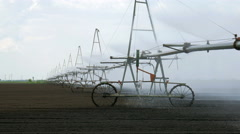 Pump of irrigation system in field Stock Footage