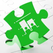 Political concept: Election on puzzle background - stock illustration