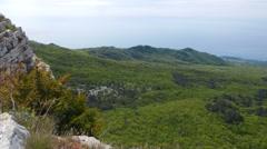 Panorama of the coast of the Crimea. Mountain Bink Isar. Crimea Stock Footage