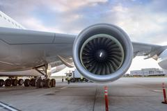Detail of jet engine on A380 aircraft Stock Photos
